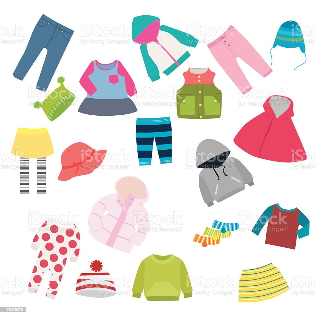 children's clothes vector art illustration