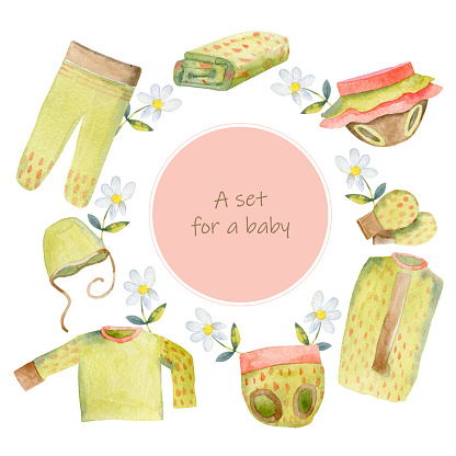Children's clothing. Clothing for newborns. Sketches in the style of watercolors. Vector illustration. Set the clothing icons on a white background. Isolated objects.