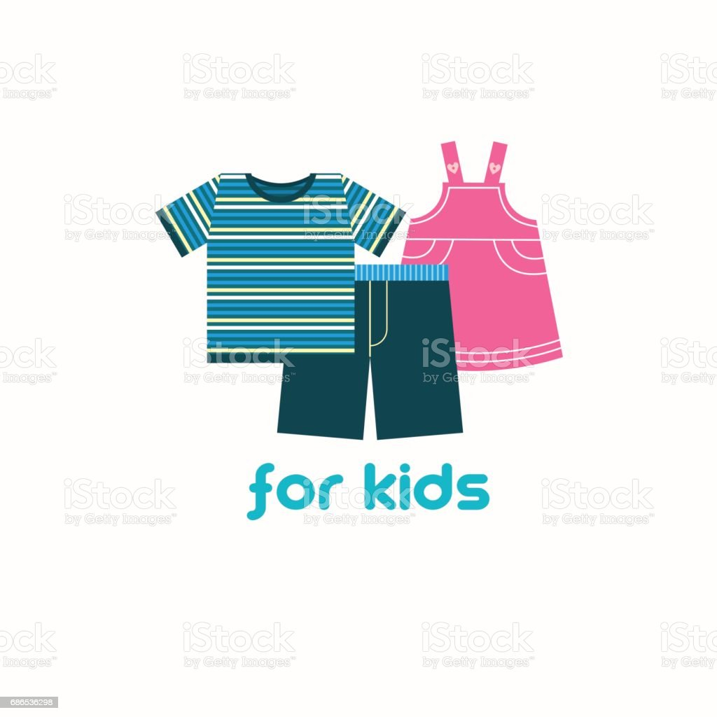 Children's clothing. Vector illustration, emblem. vector art illustration
