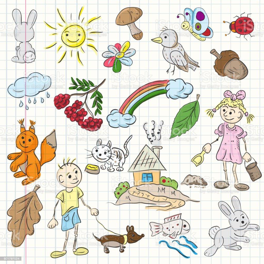 Kinder Farbe Abbildung Im Stil Sketch Stock Vektor Art und mehr ...