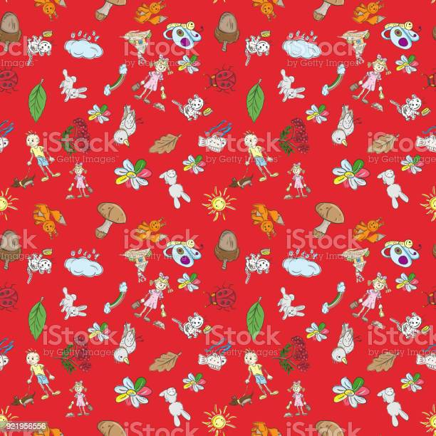 Childrens color seamless pattern in sketch style red background vector id921956556?b=1&k=6&m=921956556&s=612x612&h=lj yx3qsy3u19eptg9fc9ioclnx16nhdvtkfitrboza=
