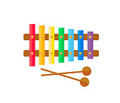 Children's colorful bright xylophone with mallets. Vector Illustration.
