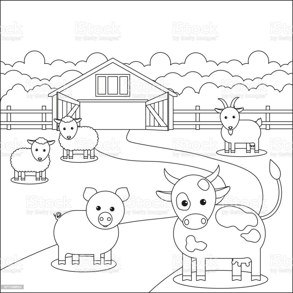 çocuk Boyama Kitabı Hayvan çiftliğinin Yakınlarında Otlatma Stok