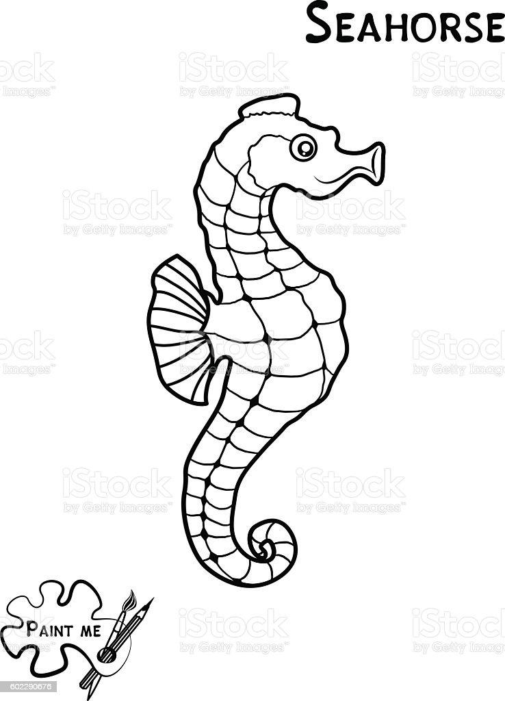 Childrens Coloring Book Sea Life Seahorse Stock Vector Art More