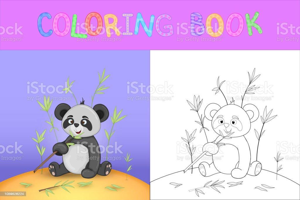 Cocuk Boyama Kitabi Karikatur Hayvanlar Ile Sevimli Panda Okul