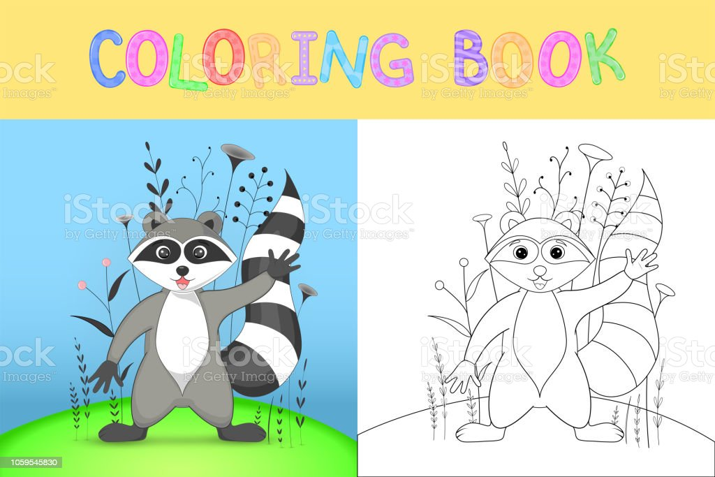 Childrens Coloring Book With Cartoon Animals Educational Tasks For