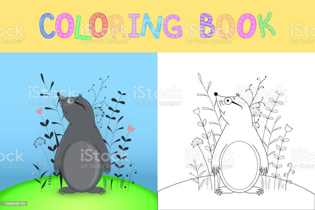 Ilustración De Libro Con Animales De Dibujos Animados Para Colorear