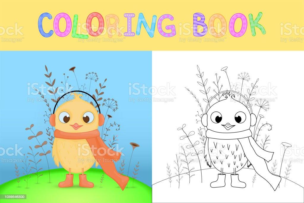 Ilustración De Libro Con Animales De Dibujos Animados Para Colorear De Los Niños Tareas Educativas Para El Pollo Dulce Niños En Edad Preescolar Y Más
