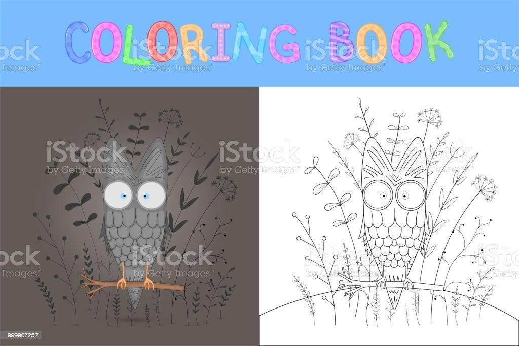 Ilustración de Libro Con Animales De Dibujos Animados Para Colorear ...