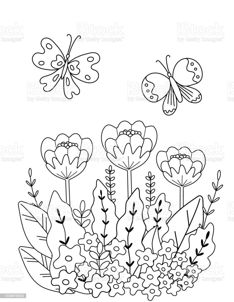 Childrens Coloring Book With Flowers And Butterflies Of Simple