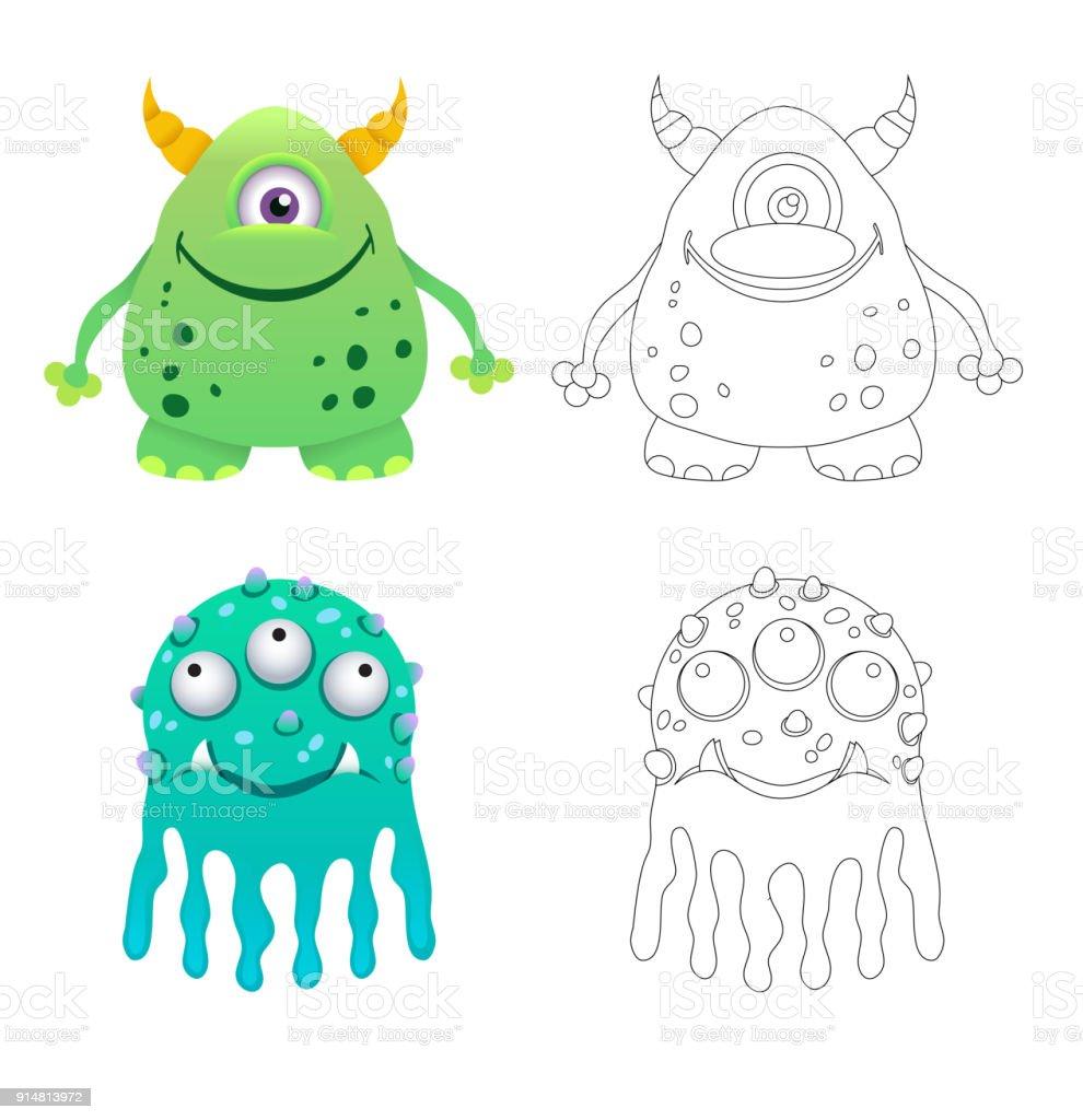 Ilustración de Para Niños Página De Monstruos Divertidos Dibujos ...