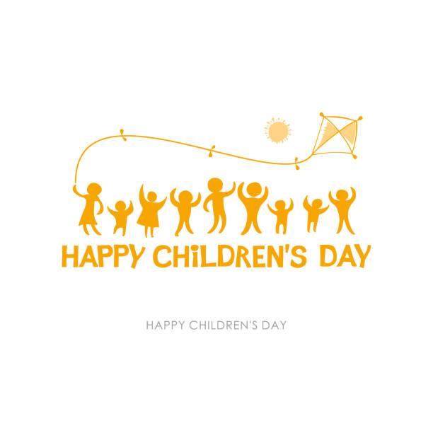 stockillustraties, clipart, cartoons en iconen met dag van het kind 2019. geel oranje zonnige platte ontwerp van sociale logo. silhouetten van vrolijke spelende kinderen illustratie aan de gelukkige dag van kinderen. - festival logo baby
