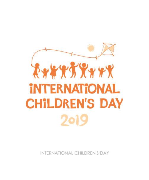 stockillustraties, clipart, cartoons en iconen met dag van het kind 2019. geel oranje zonnige platte ontwerp van sociale logo. - festival logo baby