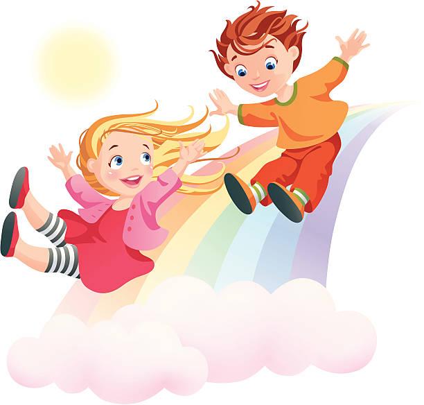 stockillustraties, clipart, cartoons en iconen met children's day. children and rainbow. - kinderdag