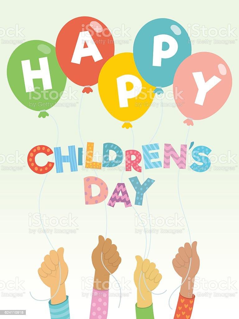Children's day greeting card vector art illustration