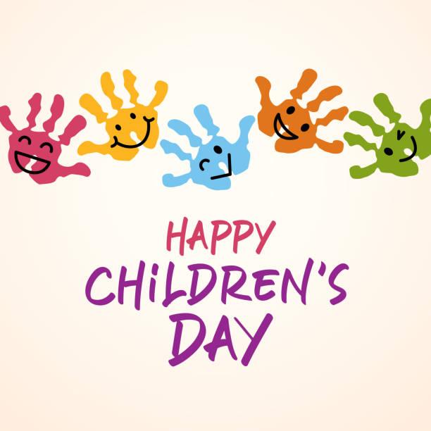 stockillustraties, clipart, cartoons en iconen met handafdrukken van kinderdag - kinderdag