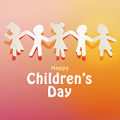 Celebrate Children's Day with paper chain of kids holding hand, jumping and running on the orange background
