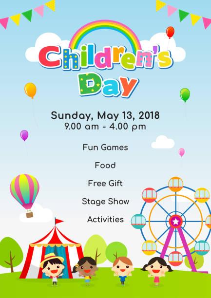 stockillustraties, clipart, cartoons en iconen met kinder dag poster uitnodiging vectorillustratie. kinderen spelen bij amusement park. - kinderdag