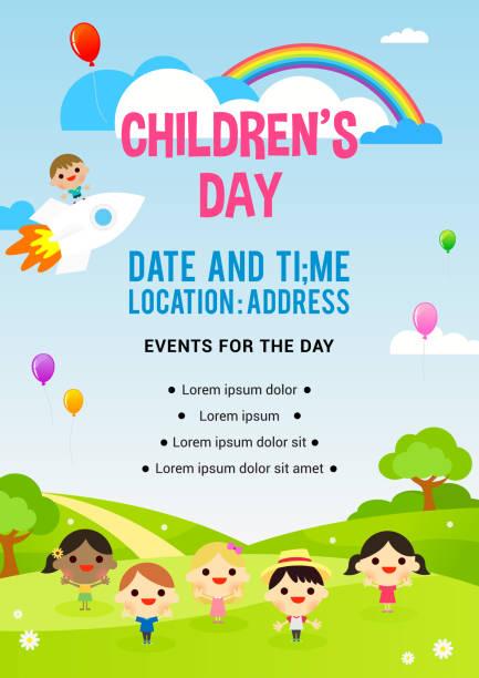 stockillustraties, clipart, cartoons en iconen met kinder dag poster uitnodiging vectorillustratie. kinderen spelen in voorjaar veld - kinderdag