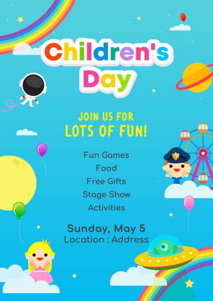 stockillustraties, clipart, cartoons en iconen met kinder dag poster uitnodiging vectorillustratie. wereld van de verbeelding met kinderen. - kinderdag