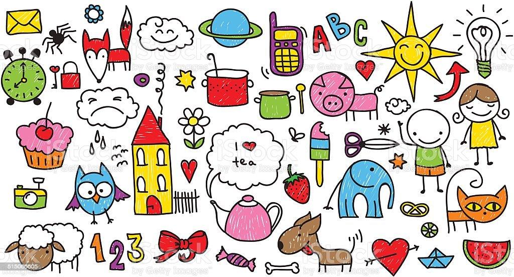 Children's doodle vector art illustration