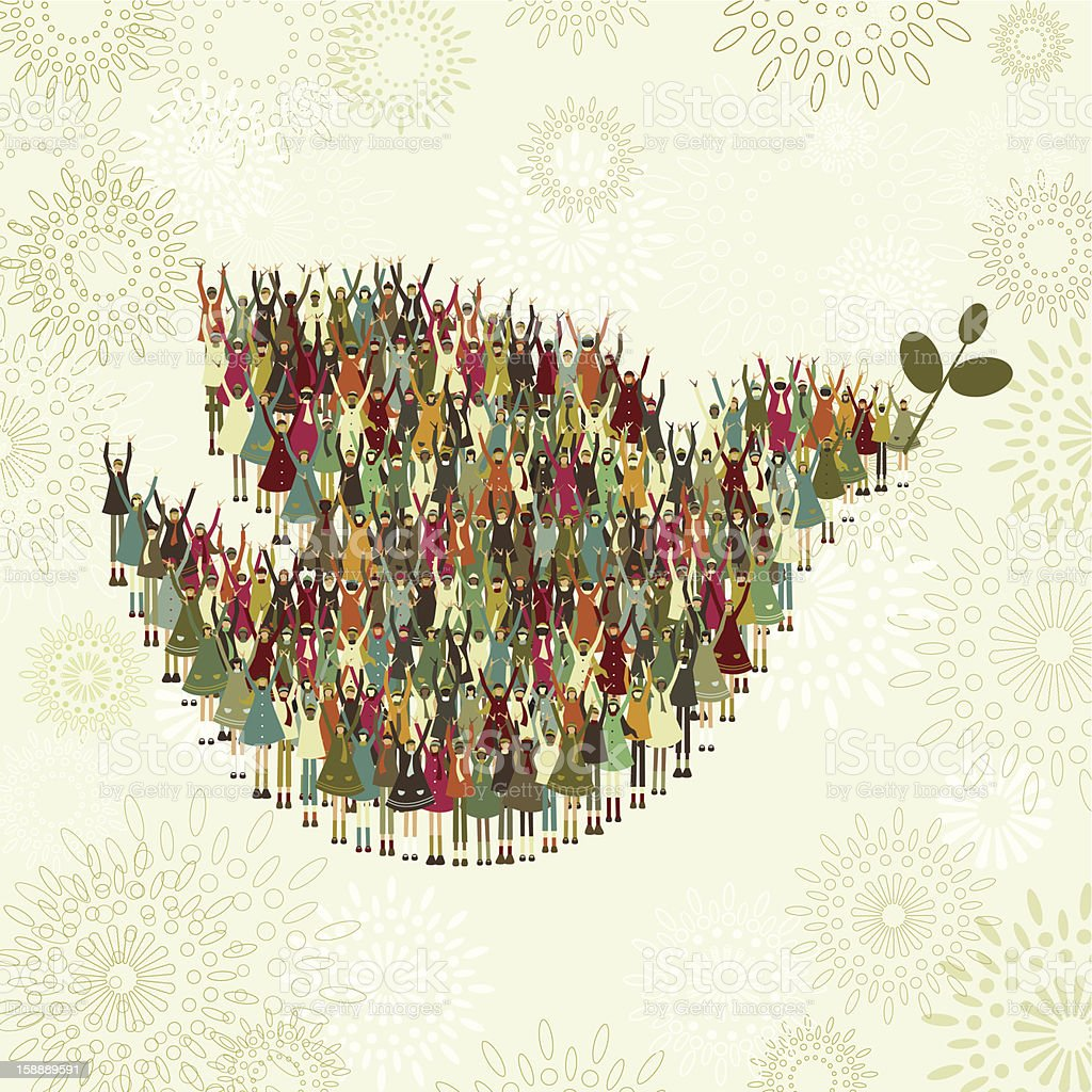 Children's dove of peace vector art illustration