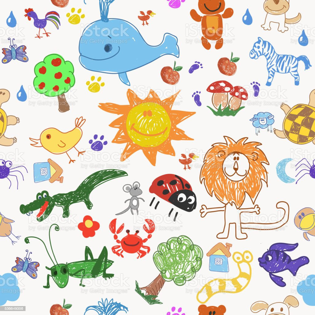 Childrens drawing doodle animals trees and sun seamless pattern. vector art illustration