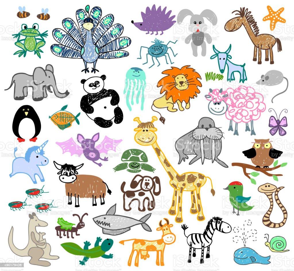 Rysunek Dzieci Bazgroły Zwierząt Stockowe Grafiki Wektorowe I