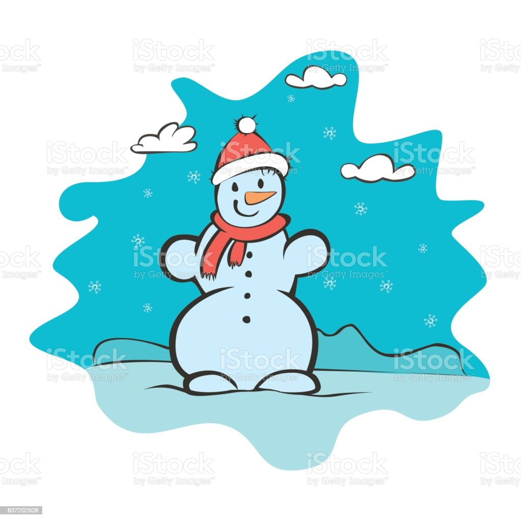 Childrens Drawing Of A Snowman Greeting Card With A New Year