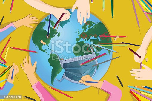 istock Children's drawing of planet Earth and a face mask 1257281478