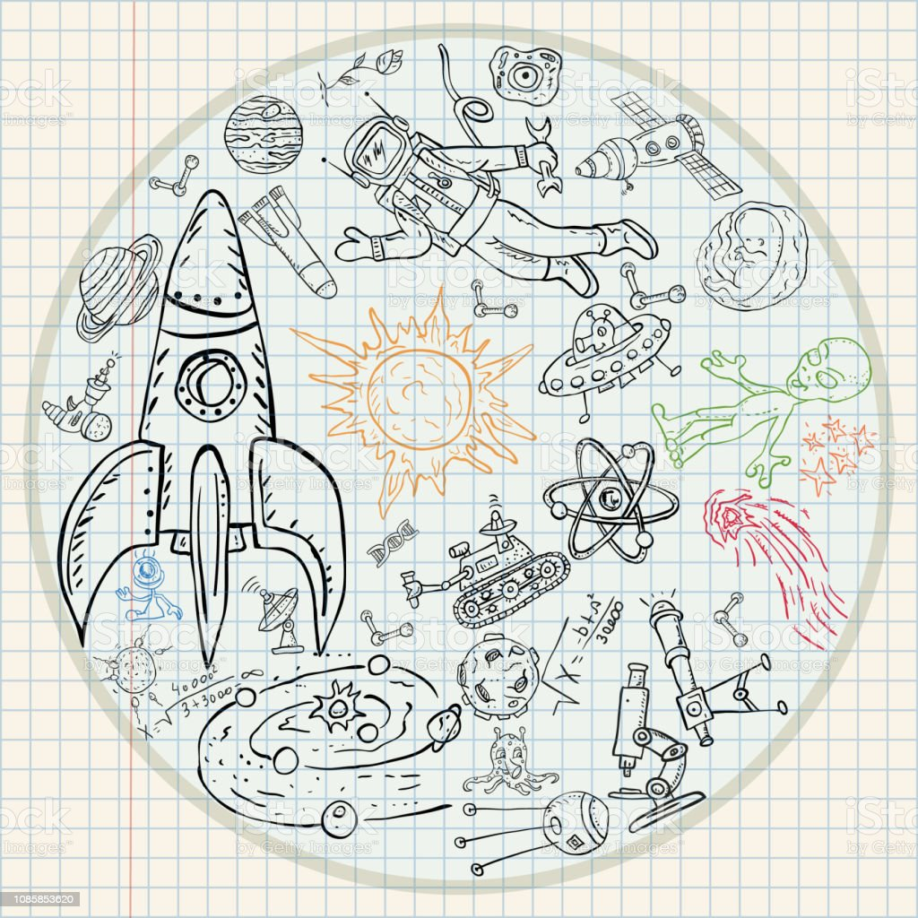 vector childrens drawings coloring pages on space theme, science and...