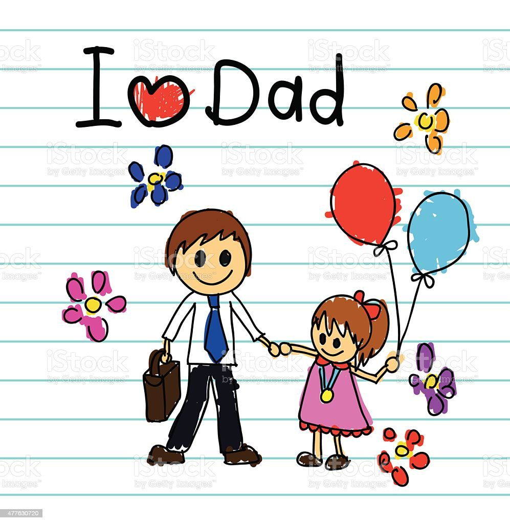 Fathers Love: Childrens Drawings Concept Love Dad For Fathers Day Stock