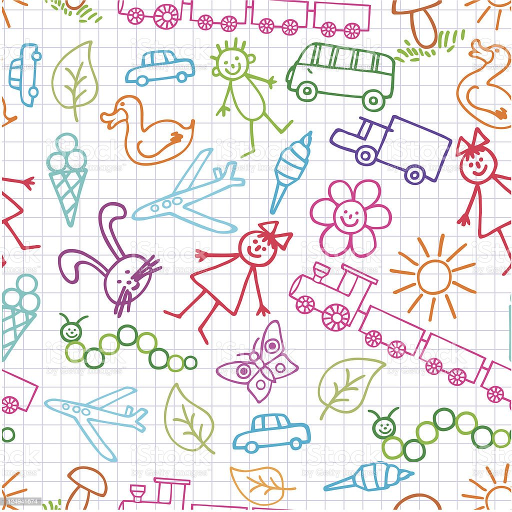Children's drawings. Doodle background. royalty-free childrens drawings doodle background stock vector art & more images of airplane