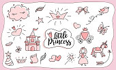 Sketch design for cute party (baby shower, girl birthday) isolated on white background. Pink with black outlines. Love