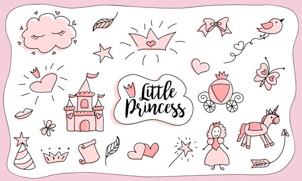 children's drawings. little princess. set of doodle illustration, hand drawn. - unicorn line drawings stock illustrations, clip art, cartoons, & icons