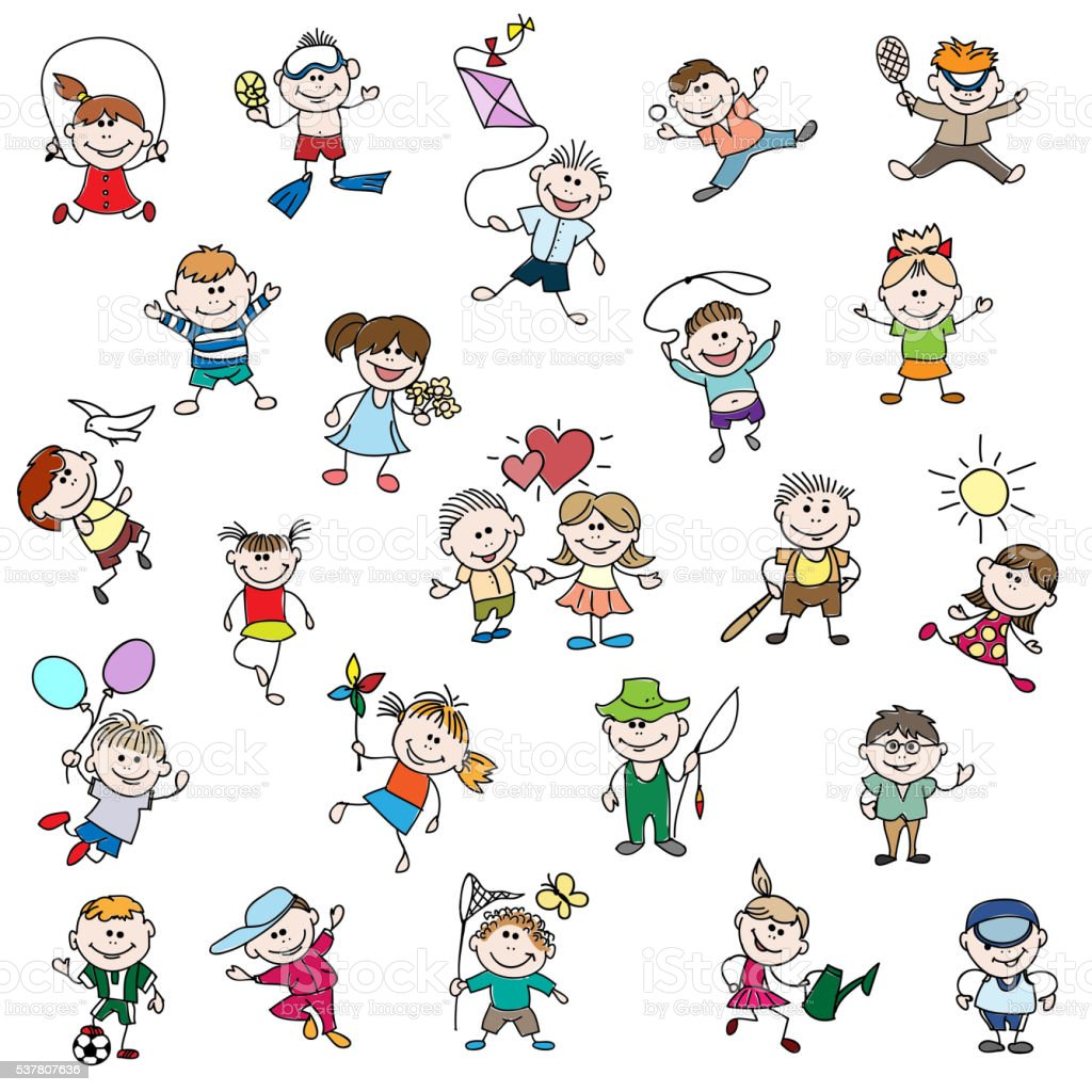 Childrens Drawings Of Doodle People Stock Illustration Download