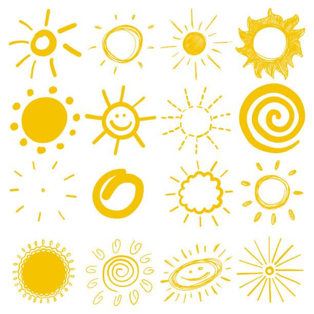 children's drawings of sun – artystyczna grafika wektorowa