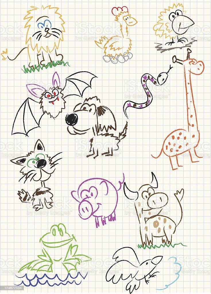 Dibujos Con Cuadros.Ilustracion De Ninos Sobre Un Fondo De Dibujos De Cuadros De Los