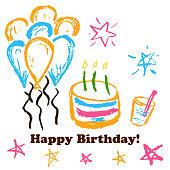 Children's drawings. Greeting card, flyer, banner. Happy Birthday Cake balloons stars