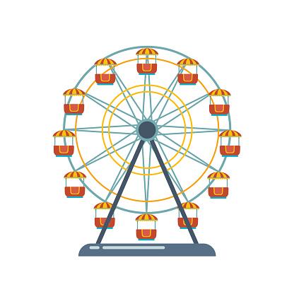 Children's entertainment playground, recreation park. Funfair with ferris wheel