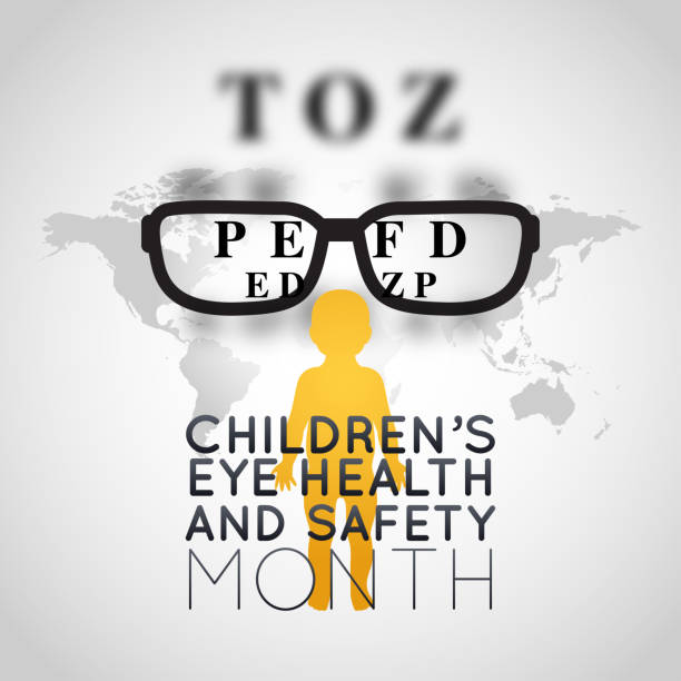 Children's Eye Health and Safety Month vector logo icon illustration vector art illustration