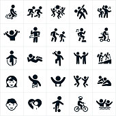 A set of icons related to children's fitness. The icons include children jump roping, running, stretching, playing with a ball, dancing, lifting weights, using a hula hoop, walking, aerobics, riding a scooter, doing a sit-up, hiking, playing, playing soccer, riding and bike and swimming to name a few.