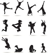 12 fantastic silhouette of children in flight, and in the jump. With clearly visible limbs.