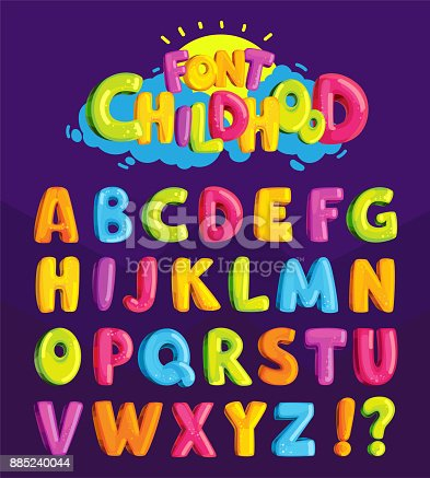 "istock Children's font in the cartoon style of ""childhood."" 885240044"