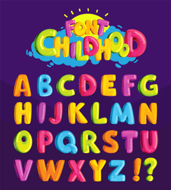 """Children's font in the cartoon style of """"childhood."""" Set of multicolored bright letters for inscriptions. Vector illustration of an alphabet. alphabet backgrounds stock illustrations"""