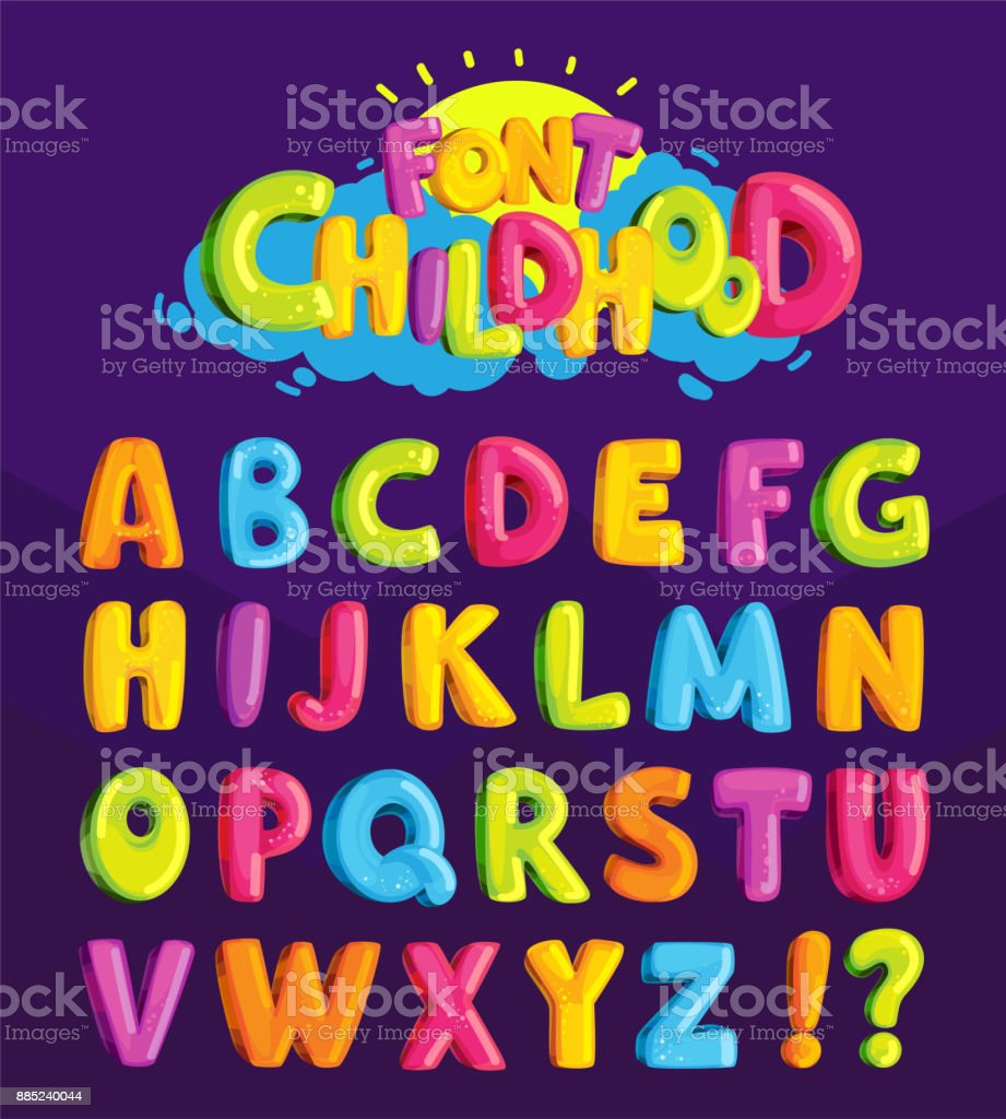 Children's font in the cartoon style of 'childhood.' - illustrazione arte vettoriale