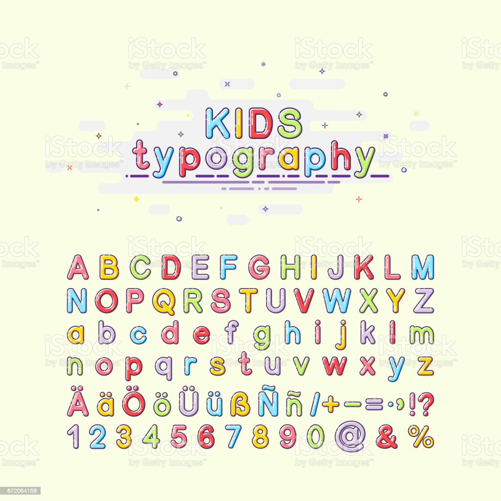Children's font in the mbe style. Colorful kids typography. Vector illustration of an alphabet. English, German and Spanish letters.