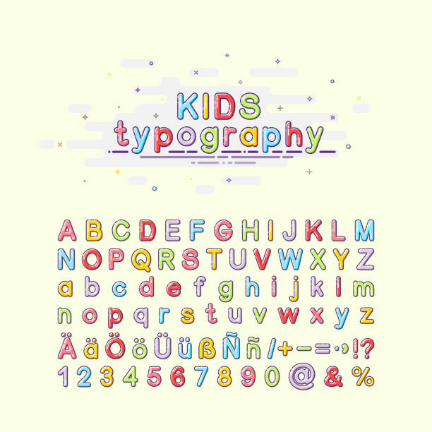 Children's font in the mbe style. Colorful kids typography. Vector illustration of an alphabet. English, German and Spanish letters. vector art illustration
