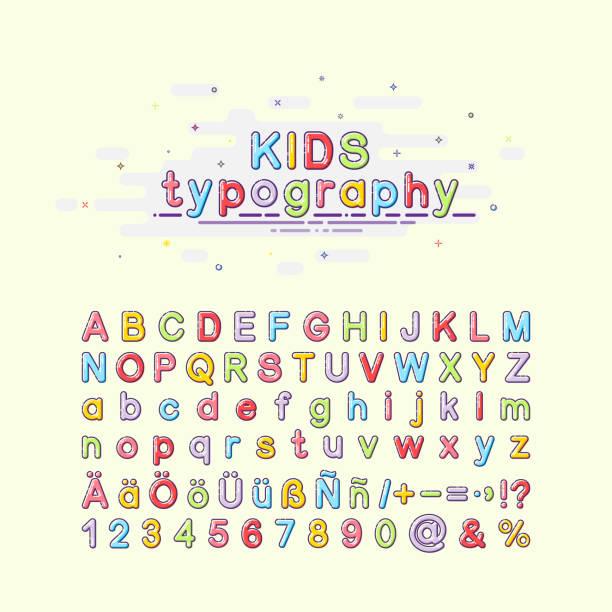 mbe スタイルで子供のフォントです。カラフルな子供のタイポグラフィ。アルファベットのベクター イラストです。英語、ドイツ語、スペイン語の手紙。 - バブルのフォント点のイラスト素材/クリップアート素材/マンガ素材/アイコン素材
