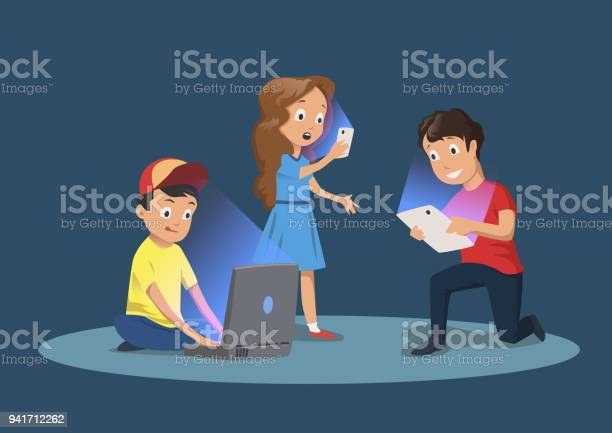 Childrens gadget dependence kids with electronic devices cartoon vector id941712262?b=1&k=6&m=941712262&s=612x612&h=u1ozlm5hncgxjofh63mopblmz3umnctgwq20u4xm2sa=